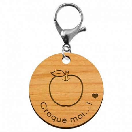"""Porte-clé en bois """"Pomme, croque moi...!"""" à personnaliser - macreationperso"""