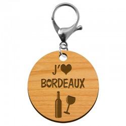 Porte-clé j'adore BORDEAUX personnalisé - macreationperso