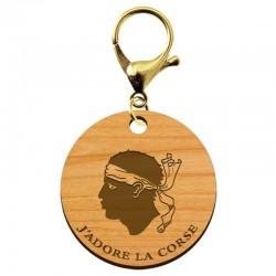 """Porte-clé """"J'adore la CORSE"""" en bois à personnaliser - macreationperso"""