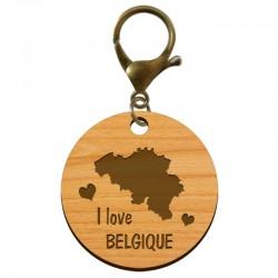 """Porte-clé """"I love Belgique"""" en bois à personnaliser - macreationperso"""
