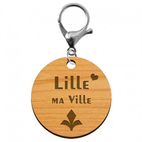 Porte-clé artisanal LILLE ma Ville en bois à personnaliser - macreationperso