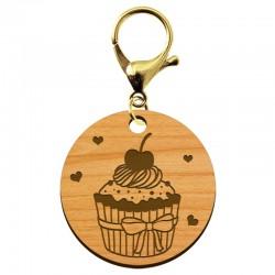 Porte-clé Cupcake en bois à personnaliser - macreationperso
