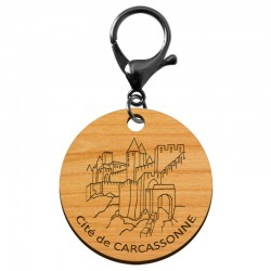 Porte-clé Cité de Carcassonne en bois à personnaliser - macreationperso