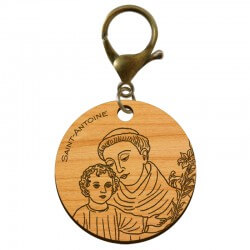 Porte-clé Religieux Saint-Antoine de Padoue en bois à personnaliser - macreationperso
