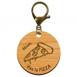 "Porte-clé PIZZA en bois ""Vive la PIZZA miam"" à personnaliser - macreationperso"