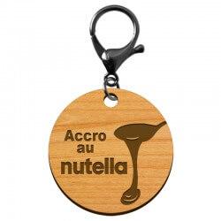 """Porte-clé nutella à personnaliser en bois """"Accro au nutella"""" - macreationperso"""