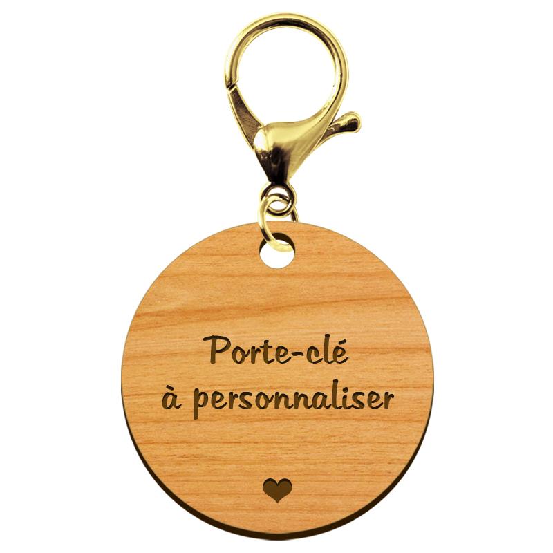 Porte-clé personnalisé en bois mousqueton Or