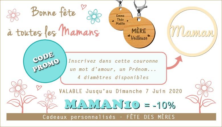 ♥ Code PROMO ♥ MAMAN10 qui vous donne droit à -10% sur la totalité de vos produits macreationperso.fr